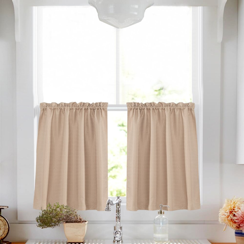 Lazzzy Tier Curtains 36 inch Taupe Kitchen Window Curtain Set Waterproof Drapes Waffle Weave Textured Bathroom Half Window Cafe Curtains
