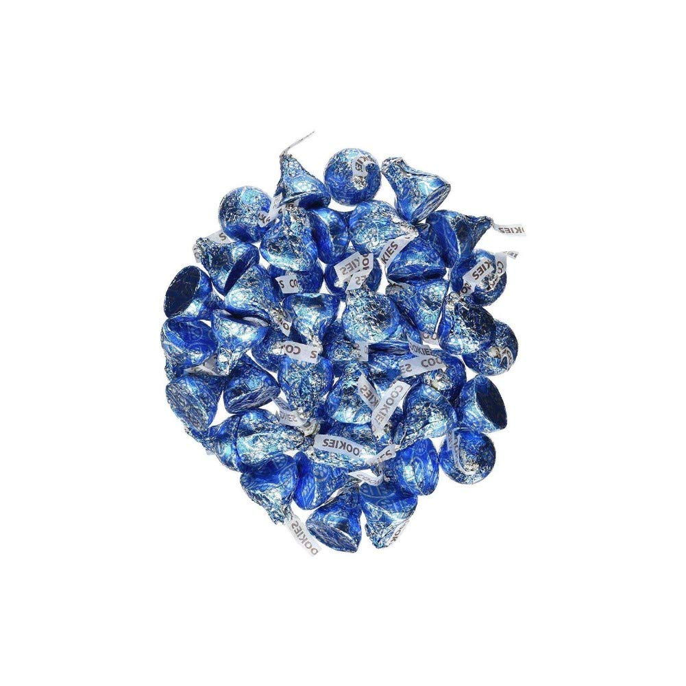 Hershey's Kisses 2 pounds Bulk Bag Cookies N' Creme Blue Foiled Wrapping Approx. 200 Kisses by Kisses