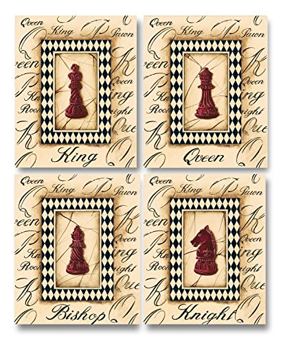 Chess Board Queen (Check Mate! Classy, Elegant Chess Piece Prints, King, Queen, Bishop, Knight; Four 8 x 10 Prints. Red/Beige/Black)