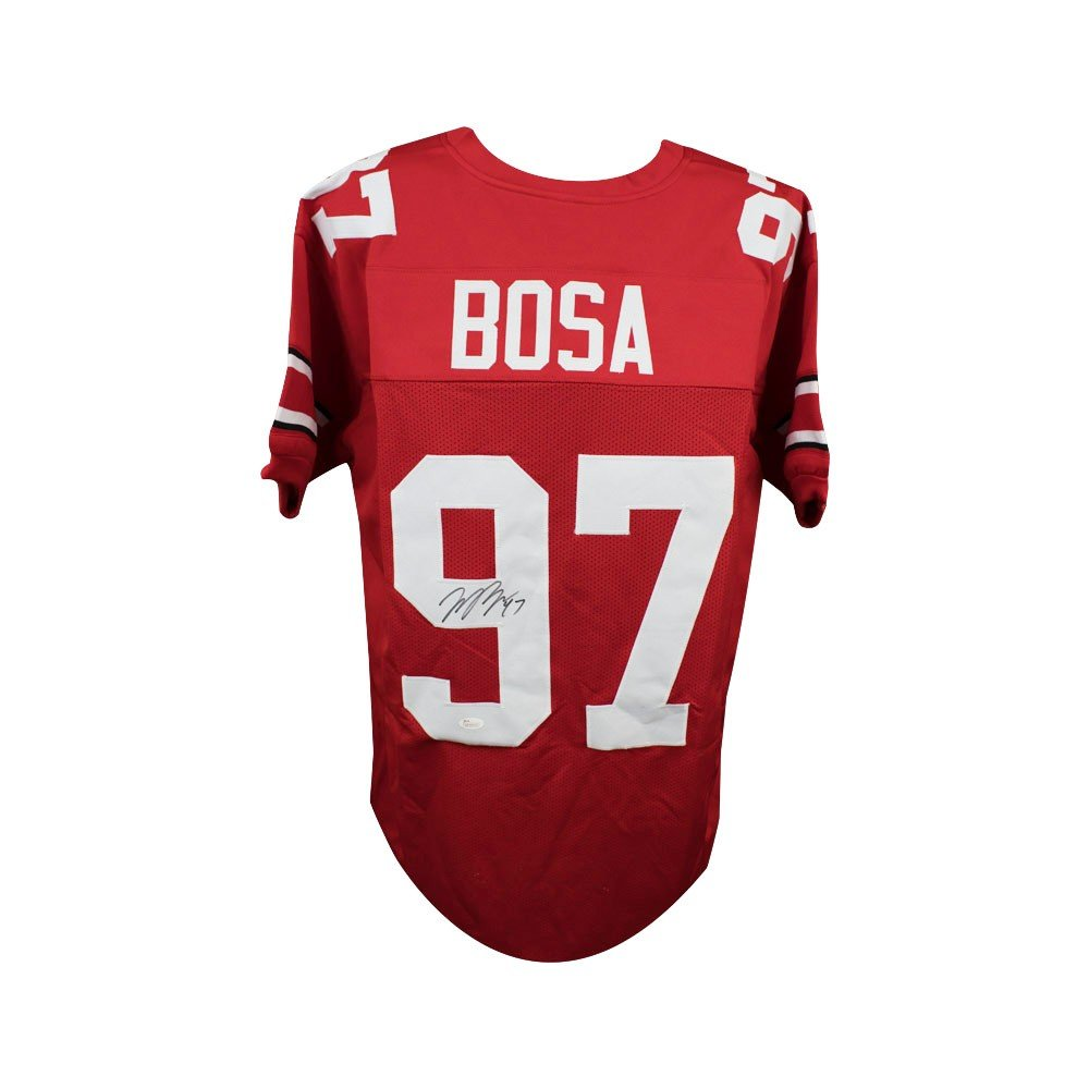new arrival 49f86 a251a Joey Bosa Autographed Ohio State Buckeyes Custom Red Football Jersey - JSA  COA