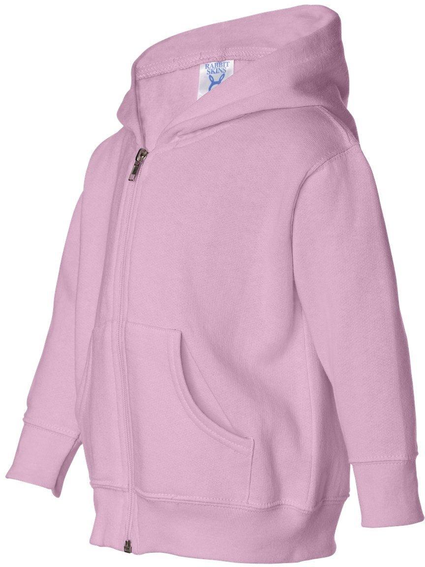 Pink Rabbit Skins Infant Fleece Long Sleeve Full Zip Hooded Sweatshirt (Pink, 5 6 Toddler)