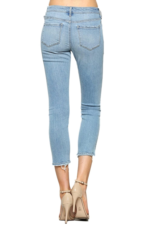 4852f0a49d2 Vervet by Flying Monkey Jeans Fallen Star Light Wash Mid Rise Crop Raw Hem  Skinny VT1203 at Amazon Women s Jeans store