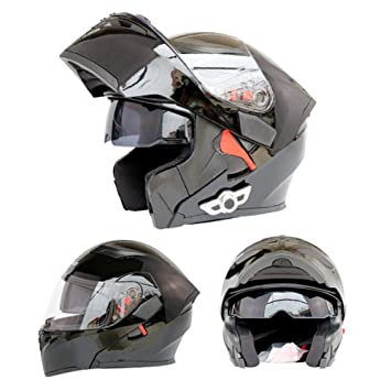 WEGCJU Casco De Moto Casco Bluetooth Full Face Casco,Black-M