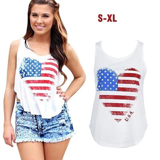 4a26f8c3e6b497 Bravetoshop Women Fashion America Flag Printing Vest T-Shirt Sleeveless  Tank Tops (White,