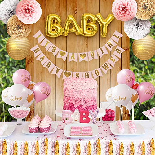 Girl Baby Shower Party Decorations Pink, White and Gold Theme Decor Set with Banners, Balloons, Poms, Lanterns, Tassels and Sash (42 Pieces) ()