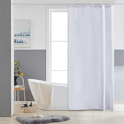 Furlinic Schmal Duschvorhang Badvorhang Textil aus Polyester Stoff Schimmelresistent Wasserabweisend Waschbar f/ür Eck Dusche Kleine Badewanne Wei/ß nach Taupe 90x180 mit 6 Duschringen.