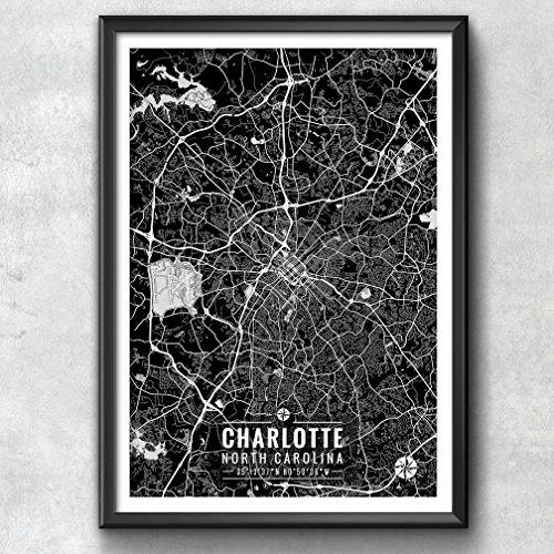 Charlotte North Carolina Map with Coordinates, Charlotte Wall Art, Charlotte Map, Map Art, Charlotte