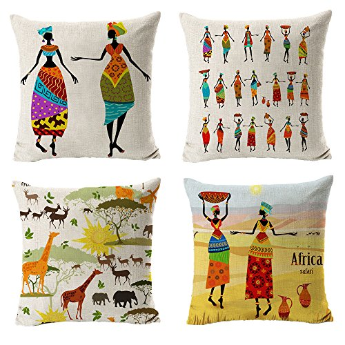 """All Smiles Ethnic African Decor Throw Pillow Covers Cases Decorative Africa Safari Print Outdoor Cushion Home Décorations 18"""" x18"""" Set of 4 for Sofa Couch Living Room"""