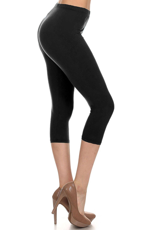 Leggings Depot Women's Popular Basic Capri Cropped Regular and Plus Solid High Waist Leggings (Plus (Size 12-24), Black) by Leggings Depot (Image #1)