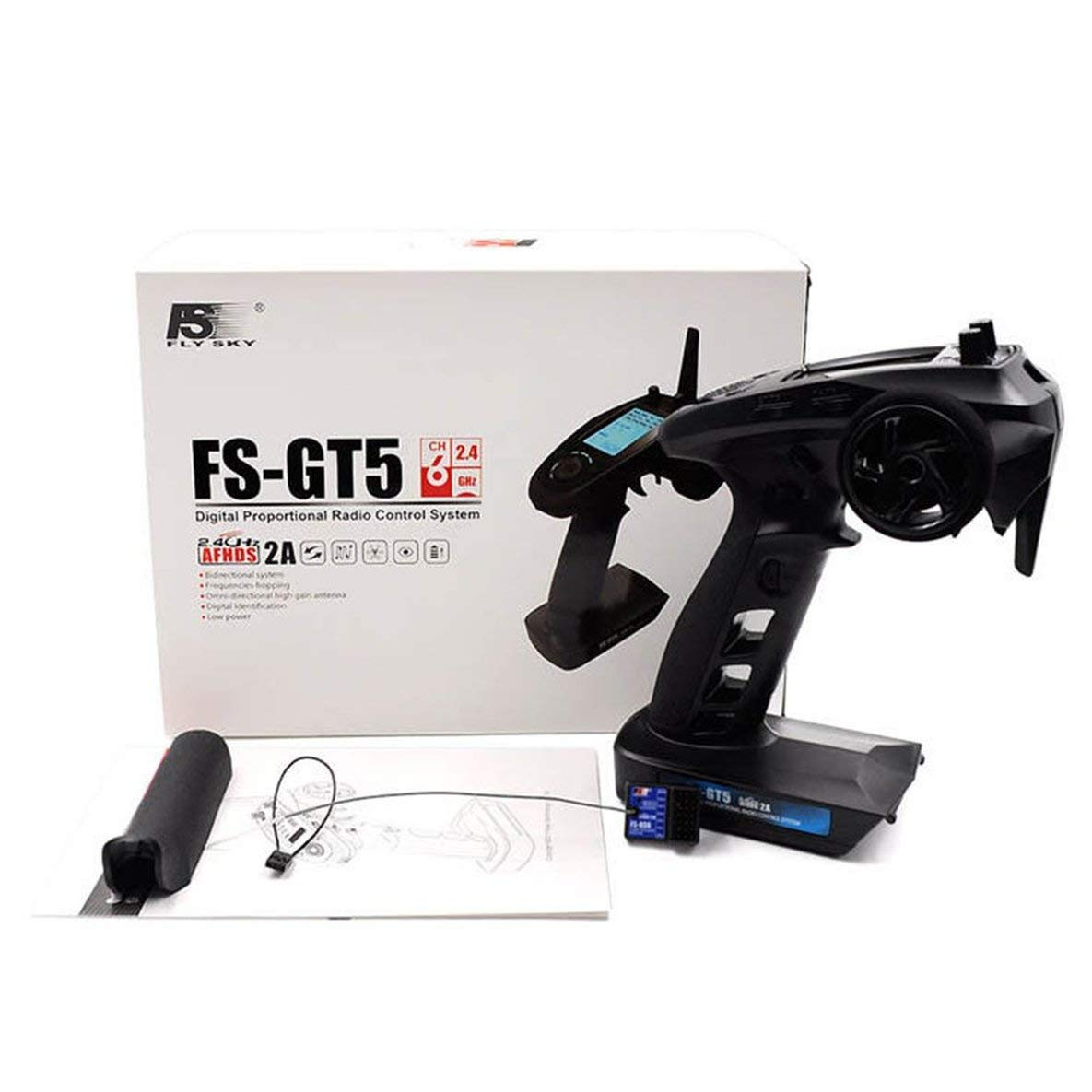 Mollies FS-GT5 Pantalla LCD RC6GS 2.4GHz FHSS 6CH 6 Canales de Sistema de Radio para el Barco del Coche Transmisor RC con el Receptor R6FG