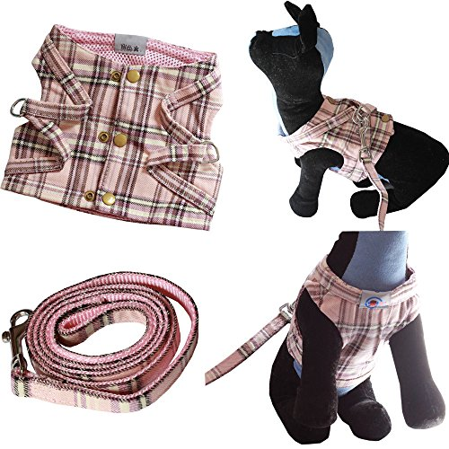 Bolbove-Pet-Plaid-Vest-Harness-and-Leash-Set-with-Buttons-for-Cats-Small-Dogs