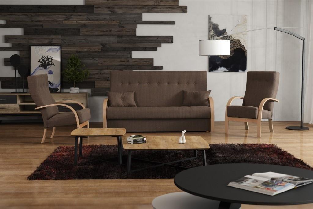 SORIA marrón Tela sofá Cama de Juego de Muebles de salón ...