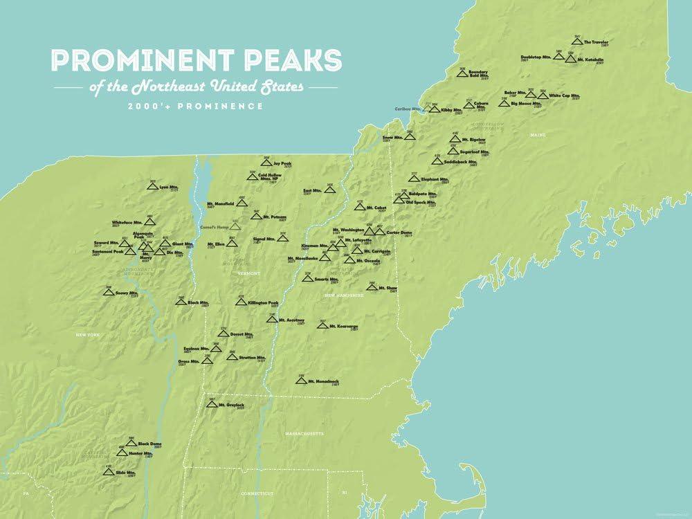 Amazon Com Northeast Usa 2000 Prominence Peaks Map 18x24 Poster Green Aqua Posters Prints
