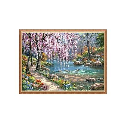 Pintura Al /óleo De /árbol Floreciente De R/ío por N/úmeros Pared DIY Artesan/ía Decoraci/ón De Oficina En Casa 21sandwhick Cuadro De Lienzo Sin Marco