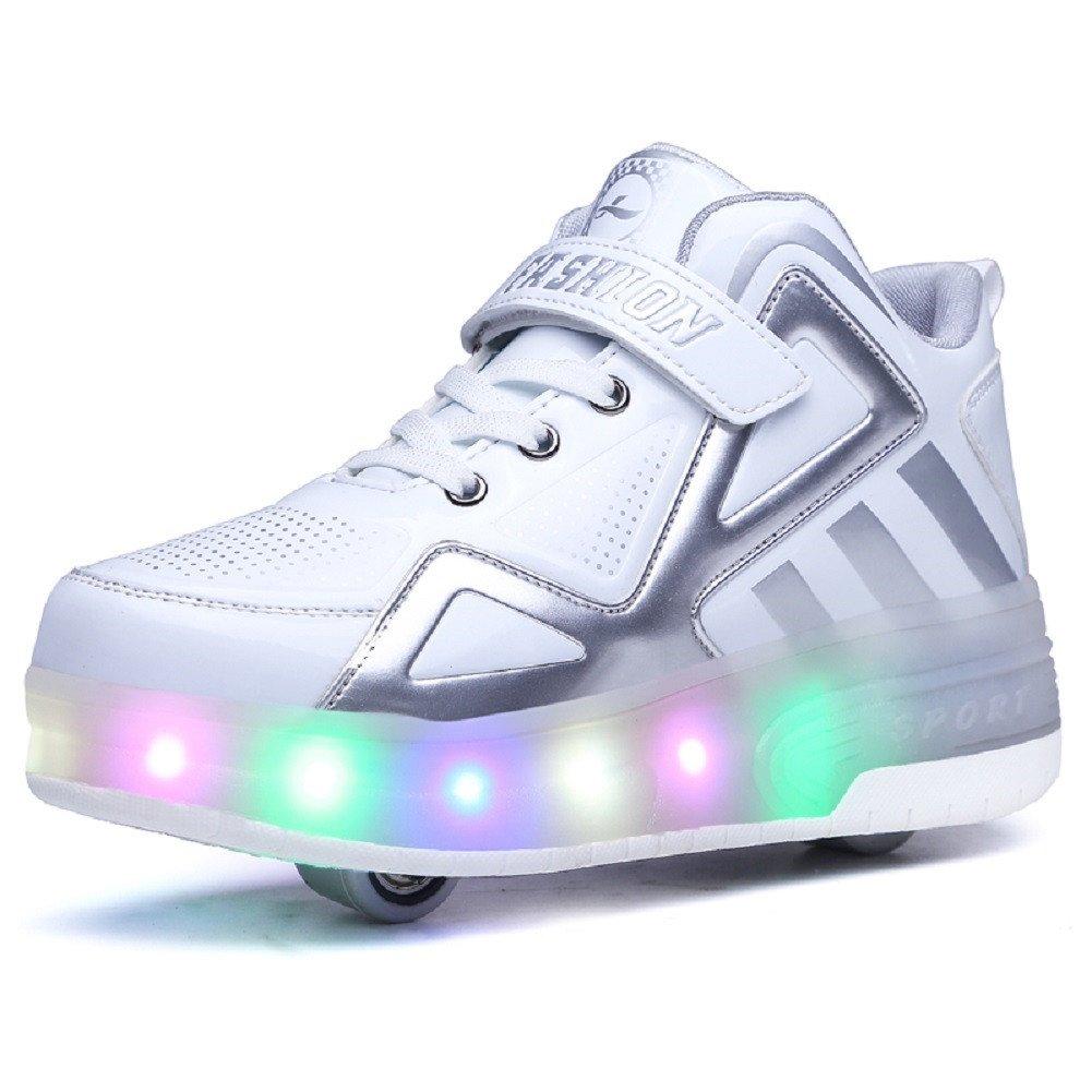 Bruce Lin Unisex Enfants LED Clignotante Chaussures à Skates avec roulettes Doubles Bouton Poussoir Ajustable lnline Patins à roulettes Course à Pied Sneakers pour Garçons Filles