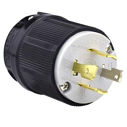 cllena nema l14 30p, 3 pole 4 wire, 30 amp 125 250 volt generator 4 Nema L14- 30R Diagram cllena nema l14 30p, 3 pole 4 wire, 30 amp 125 250 volt generator 4 prong locking male cord plug amazon com