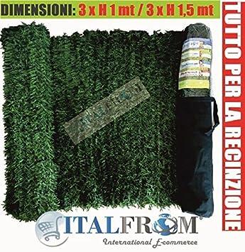 ITALFROM Künstliche Synthetik-Hecke; Sichtschutz mit langnadeligen Kieferblättern; 3 m Rolle x 100 H