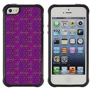 Qstar Arte & diseño Anti-Slip Shockproof TPU Fundas Cover Cubre Case para Apple iPhone 5 / Apple iPhone 5S (Violet Patterned Skull)