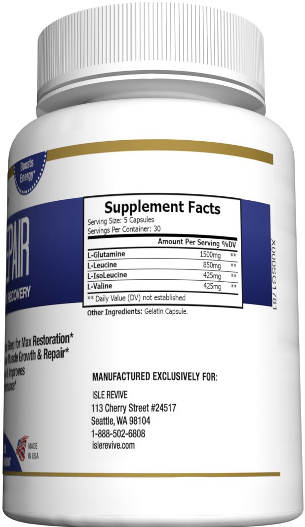 Glutamine BCAA Capsules, Post Workout Muscle Recovery and Sleep Supplement, A Blend of L-Glutamine and Amino Acids, All Natural Pills for Men and Women (150 Capsules, 30 Day Supply) - Rest Repair by Isle Revive (Image #3)