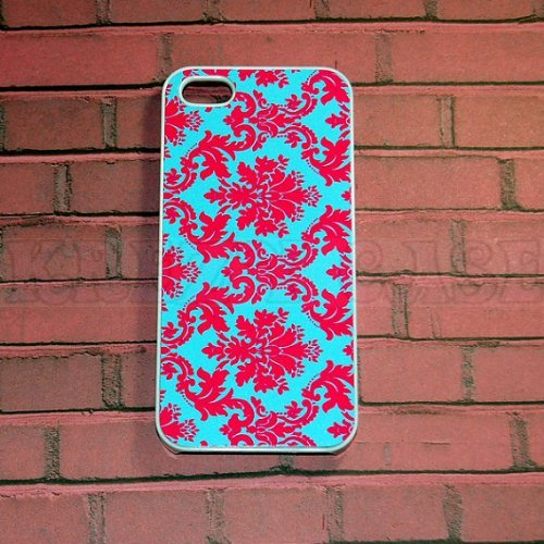 Krezy Case iPhone 6 Plus case, iPhone 6 Plus Case, Damask Floral Pink And turquoise Pattern iPhone 6 Plus Cover...