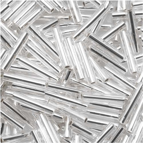 Toho Bugle Tube Beads Size #3 2x9mm Silver - Crystal Tube Beads