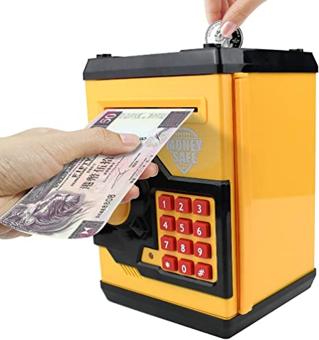 Sikaye Piggy Banks Best Gift for Kids Children Electronic Code Lock Money Banks with Password Mini ATM Money Save for Paper Money and Coins Great for Boys /& Girls Black//Red
