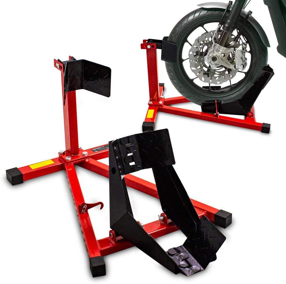 Bituxx Motorrad Montageständer Motorradwippe Vorn Motorradständer Wippe Transportständer Vorderrad Rot Schwarz Auto