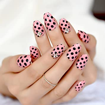Amazon.com : Wave Point Pink UV Fake Nails Black Dot 3D Rhinestones Pre Design Small Round False Nail Tips Daily Wear Nails Full Cover Z889 : Beauty