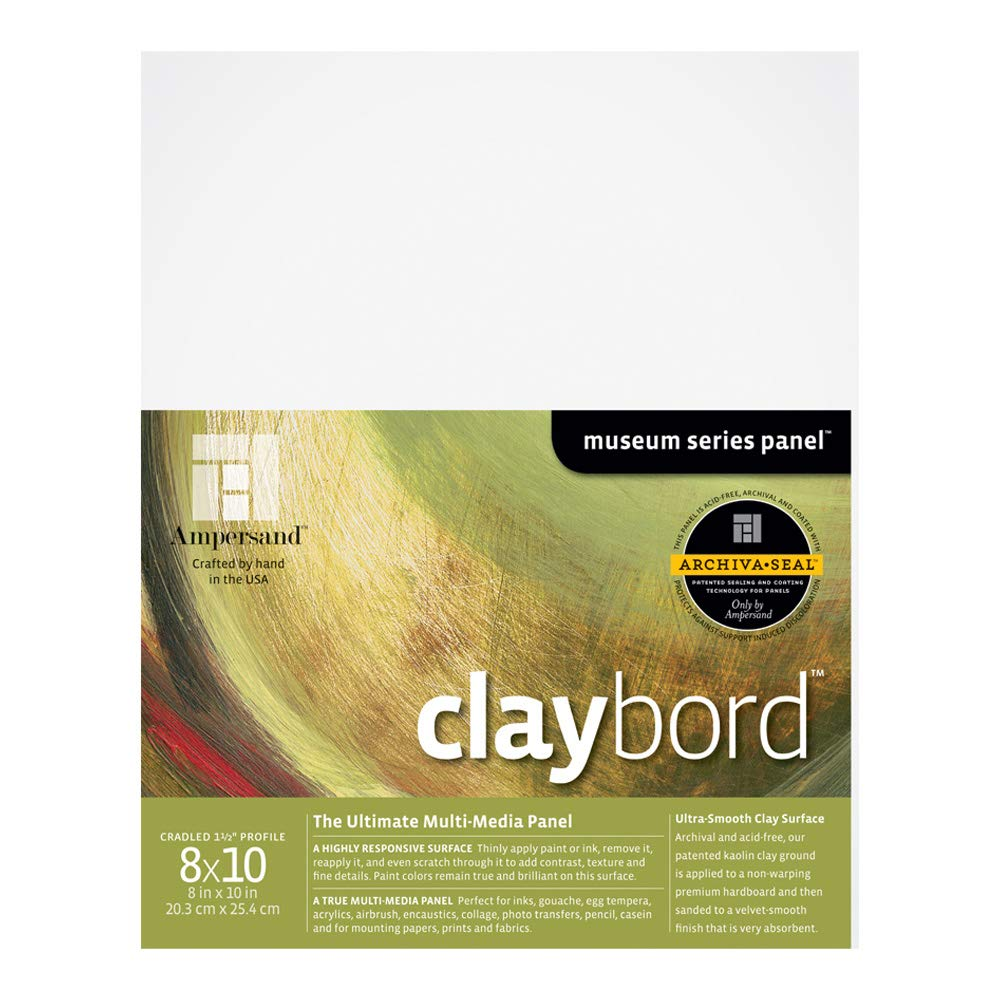 Ampersand Museum Series Claybord Panels for Paint and Ink CBSWC912 9X12 Inch 2 Inch Depth Cradled