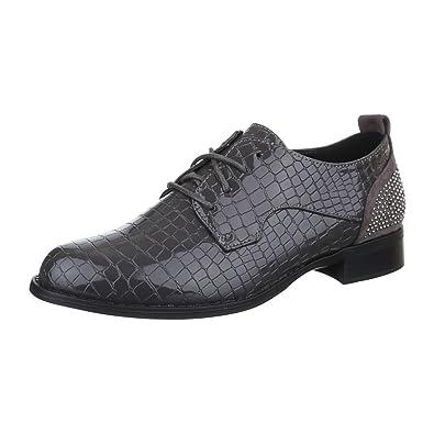 Damen Schuhe, H551, Halbschuhe, mit Schnürung, Synthetik in Hochwertiger  Lacklederoptik und Wildlederoptik