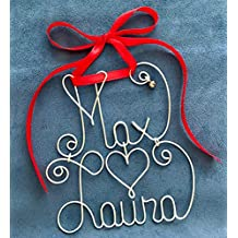 Personalized Couple's Christmas Ornament~Any Names~2 Names~THE ORIGINAL~Custom Made~Silver or Gold Wire~Red or Green Ribbon~Jingle Bell~Holliday, Xmas Gift