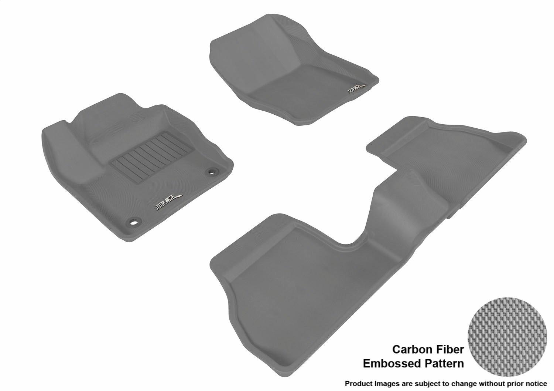 3D MAXpider Complete Set Custom Fit All-Weather Floor Mat for Select Ford Focus Models L1FR02901509 Black Kagu Rubber