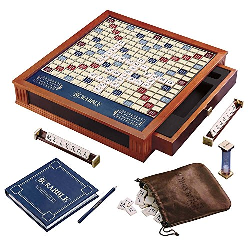 Scrabble Luxury Edition Board Game (Scrabble Premier Wood Edition Deluxe Turntable Game)
