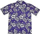 Hawaiian Islands Hibiscus Plumeria Aloha Shirt Uniform (XL, Purple)