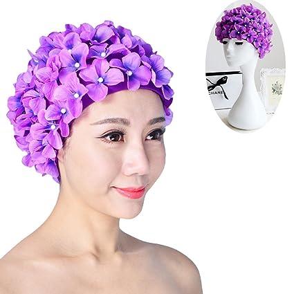 30b769fc381 Gofypel Lone Hair Swimming Cat Three-Dimensional Flower Pearl Swim Cap  Vintage 1Pcs Women Lady's