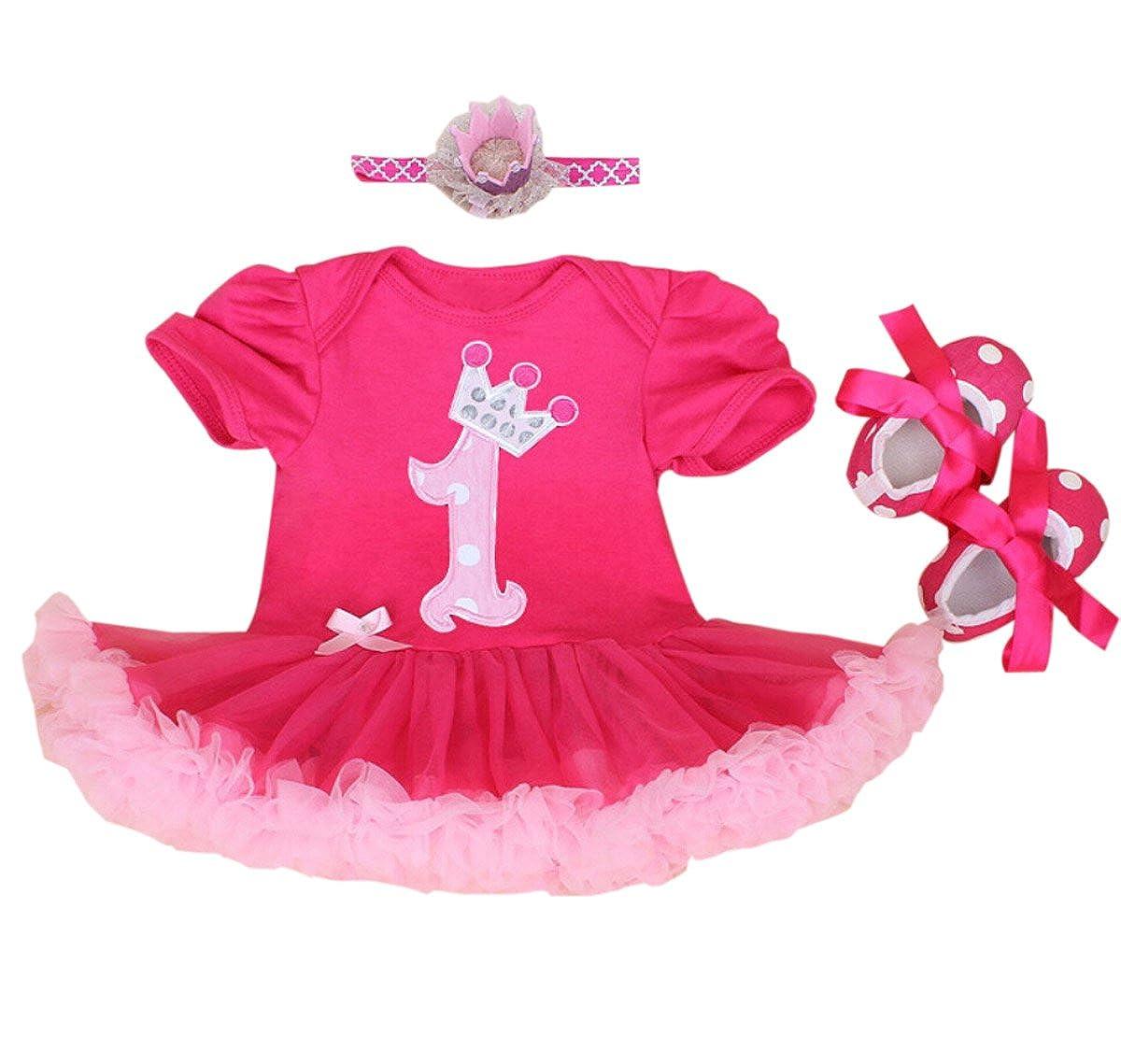 Marlegard, Vestitino per bambine, 3 pezzi: vestito, tutù e scarpe a fascia, Stampa con numero 1 e corona, Idea regalo di compleanno