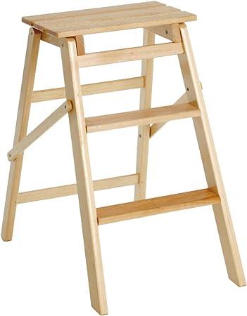 valdomo 154 - escalera de madera de 3 peldaños Jolly 3, madera natural: Amazon.es: Bricolaje y herramientas