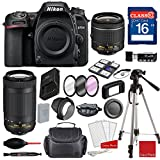 Nikon D7500 DX-format Digital SLR w/AF-P DX NIKKOR 18-55mm f/3.5-5.6G VR Lens, AF-P DX NIKKOR 70-300mm f/4.5-6.3G ED, Professional Accessory Bundle (17 Items)