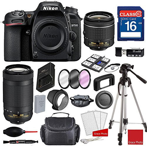 Nikon D7500 DX-Format Digital SLR w/AF-P DX NIKKOR 18-55mm f/3.5-5.6G VR Lens, AF-P DX NIKKOR 70-300mm f/4.5-6.3G ED, Professional Accessory Bundle (17 Items)