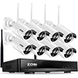 ZOSI 8CH 1080P Wireless Security Camera System,1080P NVR with 8pcs 960P HD Outdoor/Indoor CCTV WiFi IP Cameras,P2P,100ft Night Vision,Easy Remote View,Motion Detection,No HDD