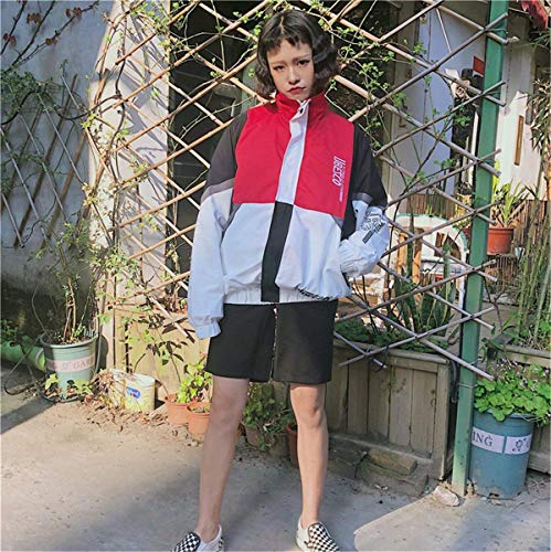 Coat Sportivo Giacca Colori Relaxed Maniche Cute Giacche Moda Ragazze Zip Primaverile Chic Donna Rot Eleganti Misti Casual College Outwear Lunghe Stile Leggero Autunno AxfWdRzq