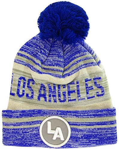 Fade Knit Beanie - Los Angeles LA Patch Fade Out Cuffed Knit Winter Pom Beanie Hat (Royal/Gray)