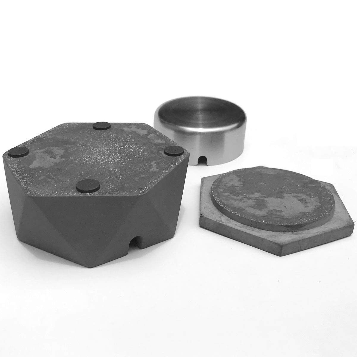 Hexagonal Geometric Ashtray with Stainless Steel Liner /& Lid FREELOVE AIGUAN Cement Ashtray for Home /& Office
