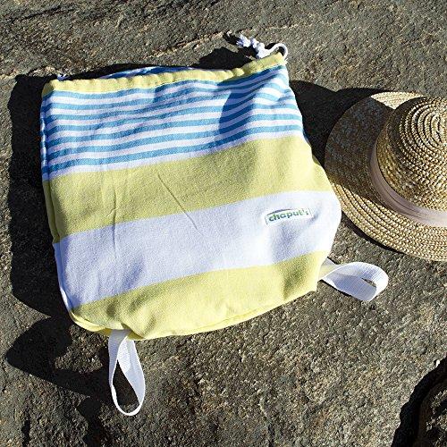 Birchwood Turkish Beach Towel/Bag, Yellow/Aqua by Birchwood (Image #1)