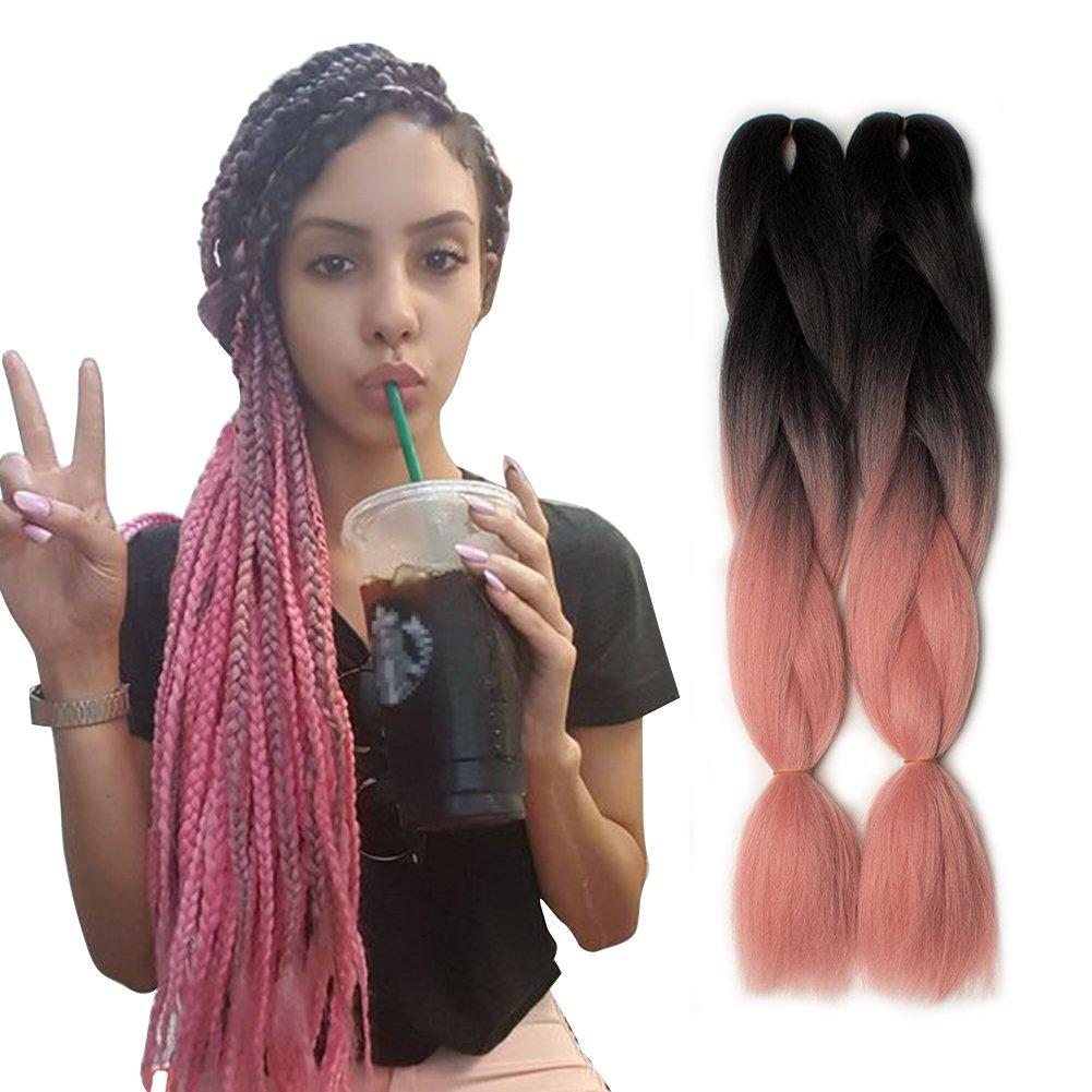 Amazon 5 Pieces 2 Tone Ombre Braiding Hair Crochet Braids