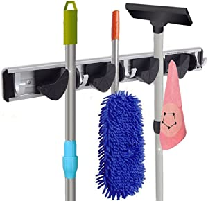 Multi-functional Mop Rack Senior Aluminum Clip On Broom Holder and Garden Tool Organizer for Rake or Mop Handlesand Many Handy Tools 9 in 1 (Silver and Black)