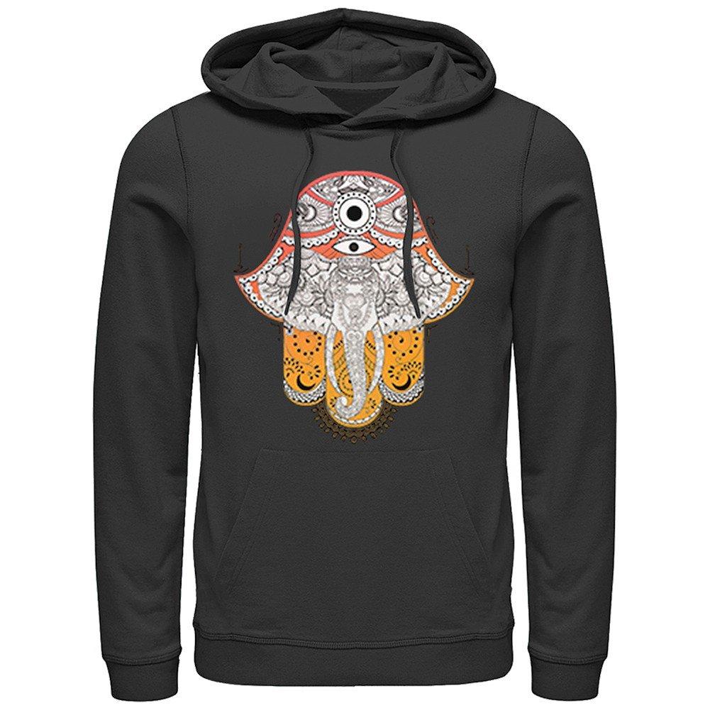 Fifth Sun Women's Hoodie - Artsy Elephant Black Printed Hooded Sweatshirt - XL