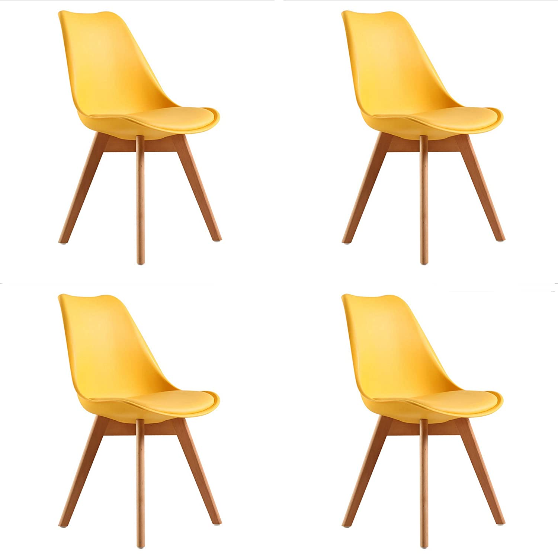 WV LeisureMaster Sedia da Pranzo//Ufficio con Faggio Wooden Legs Soggiorno Set di 4 Giallo caff/è Negozi Sala da Pranzo