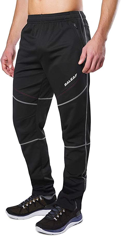 BALEAF Men's Fleece Athletic Sweatpants Jogger Bike Cycling Pants Windproof Thermal Outdoor Pants Zipper Pockets