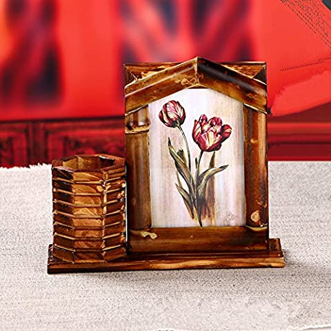 1pc Vintage Desktop Wood Bamboo Photo Picture Frame with Pen Container (4